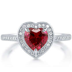 Heart Cut Ruby Cubic Zirconia Sterling Silver Halo Ring