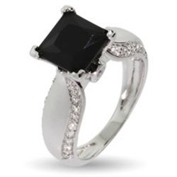 Onyx CZ Ring with Cubic Zirconia Studded Band