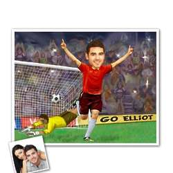 Best Soccer Player Caricature from Photo Personalized Print