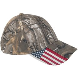 Realtree Xtra Camo and American Flag Baseball Hat