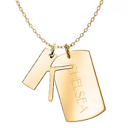 Personalized Gold-Plated Initial and Dog Tag Charm Necklace