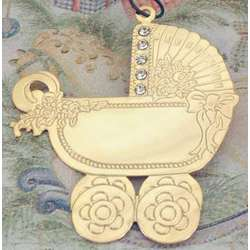 Personalized Jeweled Goldtone Baby Carriage Ornament
