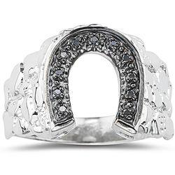 0.05 Ct Black Diamond Horse Shoe Mens Ring in Silver