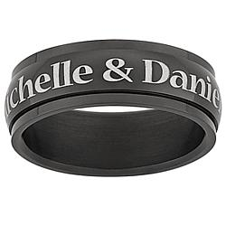 Personalized Black Stainless Steel Spinner Band