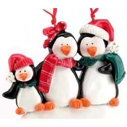 Personalized Penguin Family of Three Christmas Ornament