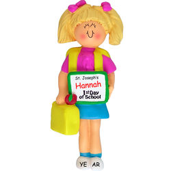 Blonde Little Girl First Day of School Ornament