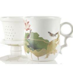 Bulbul and Lotus Infuser Mug