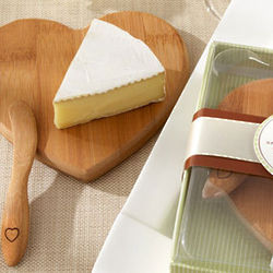 Mini Heart Bamboo Cheese Board and Spreader