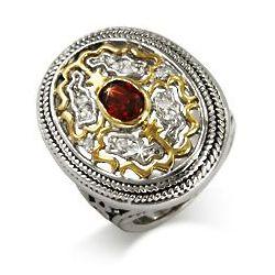 Renaissance Style Garnet Cubic Zirconia Ring