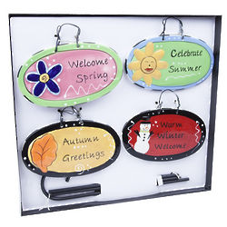 Seasonal Garden Plaque Set with Stake
