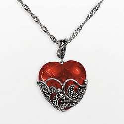 Sterling Silver Simulated Garnet Filigree Heart Pendant