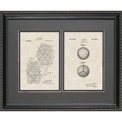 Tennis Racket & Ball Patent Art Framed 16x20 Print