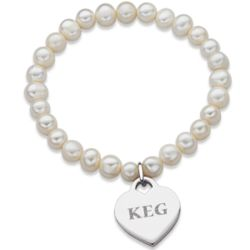 Fresh Water Pearl Stretch Bracelet with Engraved Heart Charm