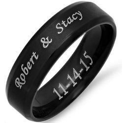 Personalized Black Stainless Steel Beveled Edge Band