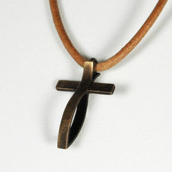 Small Antiqued Bronze Fish Cross Pendant