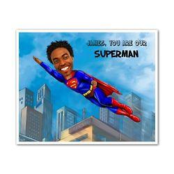 Custom Superman Caricature Art Print