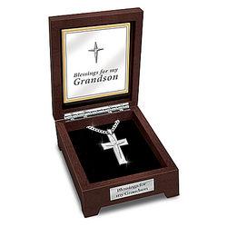 Blessed Grandson White Sapphire Cross Pendant