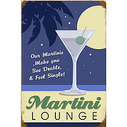 Martini Lounge Metal Sign