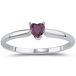 0.25 Ct Ruby Heart Ring in 14K White Gold