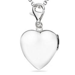 Multi-Purpose Silver Puffed-Heart Locket Charm Pendant