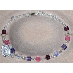 Multi-Colored Swarovski Cube Rosary Bracelet
