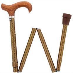 Folding Rosewood Derby Handle Adjustable Walking Cane