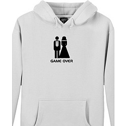 "Wedding ""Game Over"" Men's Heavyweight Hoodie in White"