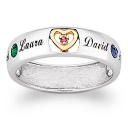 Sterling Silver Two-Tone Mother's Birthstone & Name Ring