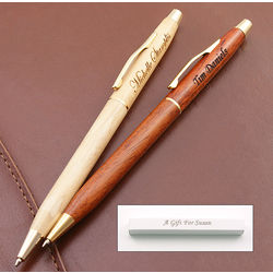 Executive Slimline Wood Pen in Engravable Box