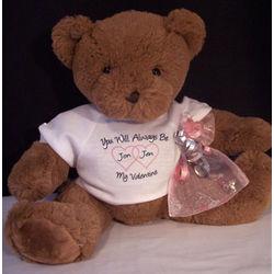 Personalized Valentine Teddy Bear with Crystal Bracelet
