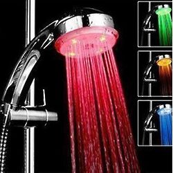 Color Changing Temperature Sensing LED Shower Head