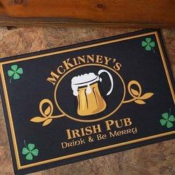 Personalized Four Leaf Clover Irish Pub Door Mat