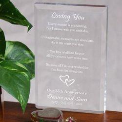 Engraved Loving You Anniversary Block