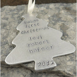 Personalized Hand Stamped Christmas Tree Ornament