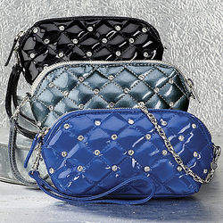 Quilted Patent Wristlet Bag