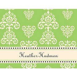 Lime and Creme Flourish 10 Personalized Notecards & Envelopes