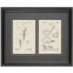 Golf Driver and Tee 16x20 Framed Patent Art Print