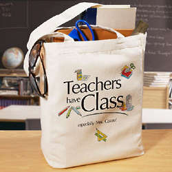 Teachers Have Class Personalized Canvas Tote Bag