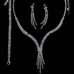 Silver Tone Rhinestone Bridal Jewelry Set