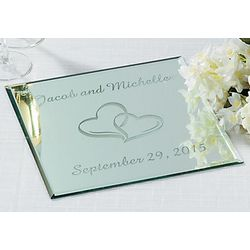 Personalized 2 Hearts Square Table Mirror