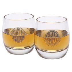 Half Full Half Empty Whiskey Glasses