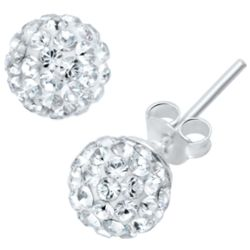 Crystal Over Clay Ball Sterling Silver Earrings