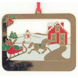 Personalized Gold and Enamel Christmas Scene Ornament