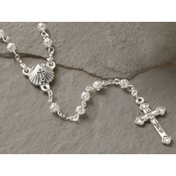 Baptism Rosary with Silver-toned Filigree Beads