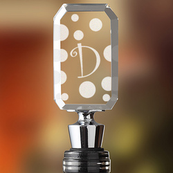 Polka Dot Monogram Wine Bottle Stopper