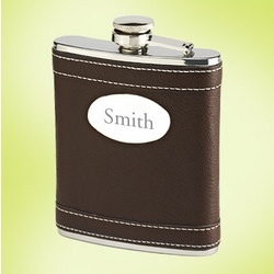 Engravable Brown Leather Flask