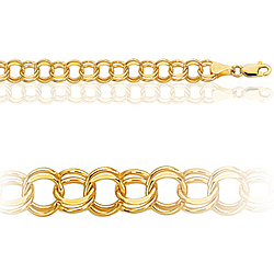 Womens Double Link Charm Bracelet in 10K Yellow Gold