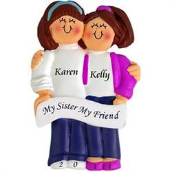 Two Brunette Sisters Personalized Ornament