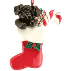 Personalized Puppy in Stocking Resin Ornament