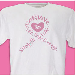Breast Cancer Awareness Survival Ribbon Personalized T-Shirt